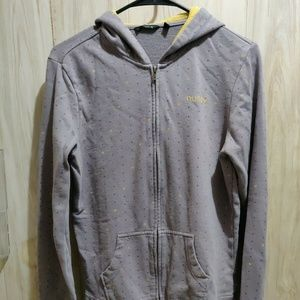 Hurley Women's Zip Up Hoodie Sz L Gray/Yellow